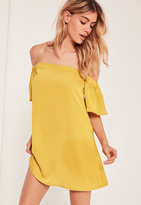 Missguided Petite Bardot Swing Dress Yellow
