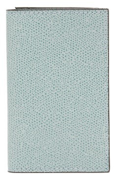Valextra Compact Bi-fold Grained Leather Wallet - Womens - Light Blue