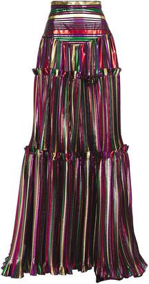 Dundas Metallic Striped Plisse Silk-voile Maxi Skirt