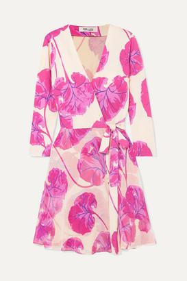Diane von Furstenberg Irina Printed Silk-jersey Wrap Mini Dress - Cream