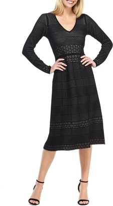 Gal Meets Glam Heidi Mixed Stitch Long Sleeve Sweater Dress