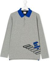 Armani Junior teen long-sleeved polo shirt - kids - Cotton/Spandex/Elastane - 14 yrs