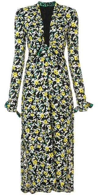Proenza Schouler V Neck Wildflower Print Crepe Dress