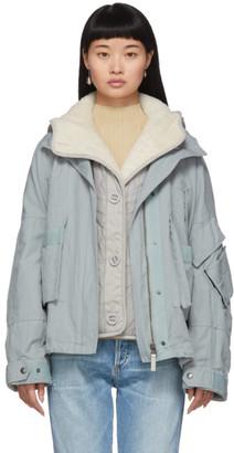 Yves Salomon Army Army Blue Lamb Lining Padded Jacket