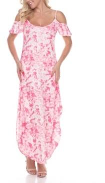 White Mark Women's Cold Shoulder Tie-Dye Maxi Dress