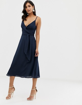 Asos DESIGN cami wrap midi dress with tie waist