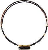 Nakamol Beaded Choker Wrap Necklace w/ Onyx Pendant, Black Mix