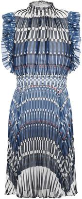 Kate Spade Pleated Studded Printed Georgette Mini Dress