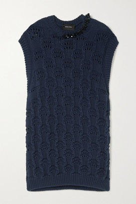 Simone Rocha Oversized Bead-embellished Pointelle-knit Organic Cotton Tank - Navy