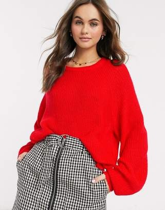 Brave Soul harris jumper with balloon sleeves in red