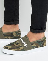 Ellesse Canvas Sneakers With Strap in Camo