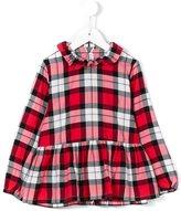 Il Gufo ruffled collar check blouse