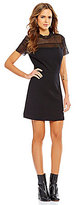 Gianni Bini Avery Mesh Inset Short Sleeve A-line Dress