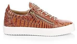 Giuseppe Zanotti Men's Croc-Embossed Leather Sneakers