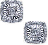 Macy's Diamond Square-Style Miracle Plate Stud Earrings (1/4 ct. t.w.) in 14k White Gold
