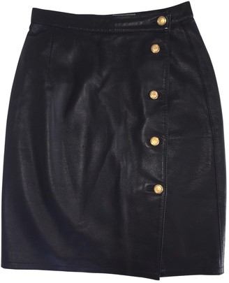 Versus Black Leather Skirt for Women Vintage