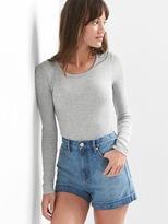 Rib-knit crewneck bodysuit