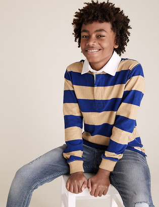 Marks and Spencer Pure Cotton Striped Rugby Shirt (6-14 Yrs)