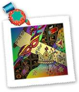 3dRose LLC qs_47381_4 Lee Hiller Designs Judaica - Judaica Happy Purim Festive Celebration Art Print - Quilt Squares