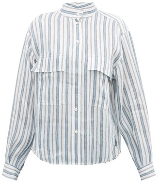 Frame Stand-collar Striped Linen-blend Shirt - White Multi