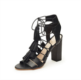 Loeffler Randall Black Leather Heeled Sandals
