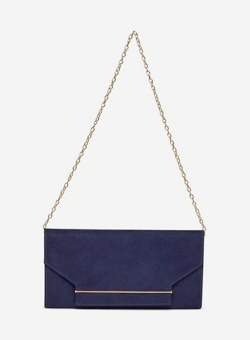 Womens Navy Faux Suede Square Envelope Clutch Bag