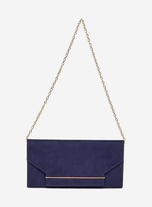 Dorothy Perkins Womens Navy Metal Bar Clutch Bag