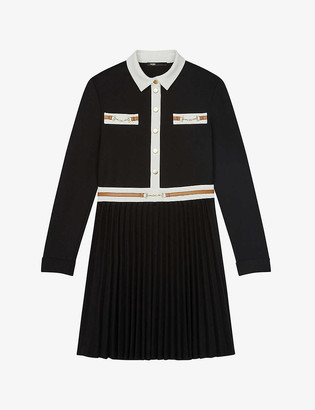 Maje Roulia pleated-skirt crepe dress
