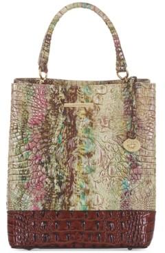 Brahmin Amelia Amethyst Norwell Embossed Leather Bucket Bag