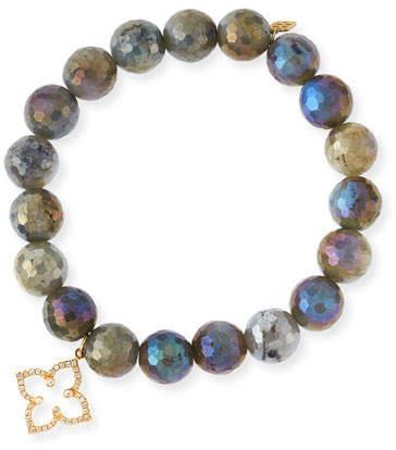Sydney Evan Coated Labradorite Faceted Bead Bracelet with Diamond Moroccan Flower Charm