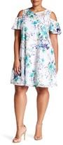Sandra Darren Cold Shoulder Floral Dress (Plus Size)