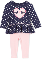 Kids Headquarters Navy Heart Tunic & Pink Leggings - Girls