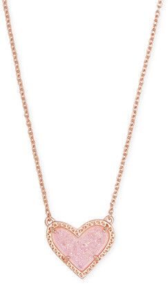 Kendra Scott Ari Heart Rose Gold Pendant Necklace in Light Pink Drusy