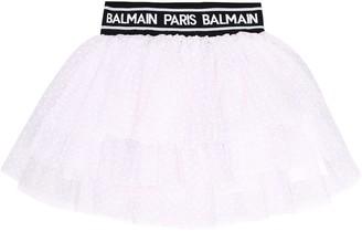 Balmain Kids Logo tulle skirt