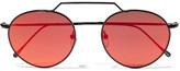 Illesteva Wynwood Ii Round-frame Metal Mirrored Sunglasses - Black