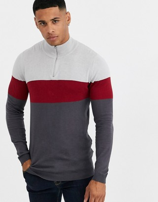 ASOS DESIGN knitted half zip jumper in grey stripe