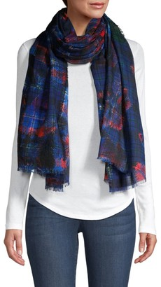 Franco Ferrari Risiko Feather Plaid Scarf
