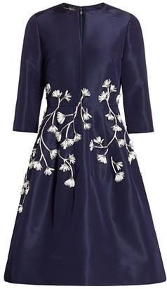 Oscar de la Renta Floral Embroidered Fit-&-Flare Dress