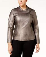 Alfani Plus Size Metallic Moto Jacket, Created for Macy's