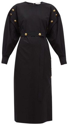 Givenchy Belted Buttoned Cotton-poplin Midi Dress - Womens - Black