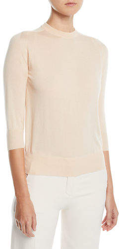 3-4-Sleeve Silk-Cotton Crewneck Sweater