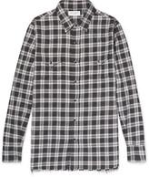 Saint Laurent - Distressed Checked Cotton-flannel Shirt