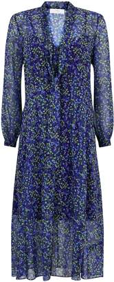 Wallis PETITE Blue Floral Print Midi Dress
