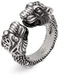 Gucci Vintage Sterling Silver Tiger Heads Ring