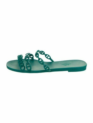Hermes Rubber Chaine d'Ancre Rivage Sandals green