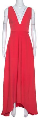 Monique Lhuillier Coral Pink Crepe High Low Hem Maxi Dress S