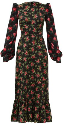 The Vampire's Wife The Villanelle Floral-print Cotton Maxi Dress - Black Multi