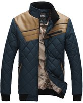 TLZC Men's Winter Fashion Stand Collar PU Leather Patchwork Long Sleeve Jackets US Size L