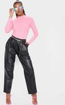 Fashiono Hot Pink High Neck Long Sleeve Top