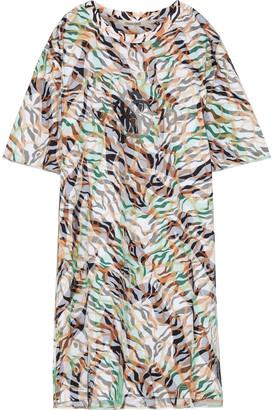 Roberto Cavalli Layered Printed Mesh And Cotton-jersey Mini Dress
